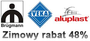 Brugmann, Veka, Aluplast promocja zimowa 48% rabatu za przedpłatę 100%
