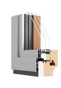 Okna Drewniano-Aluminiowe PURO PASSIVE przekrój